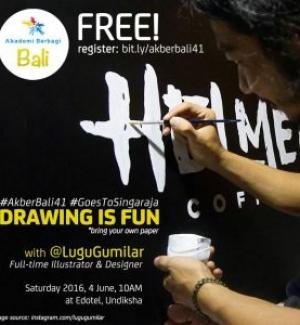 #AkberBali41 Goes To Singaraja; Drawing is Fun with Lugu Gumilar @lugugumilar